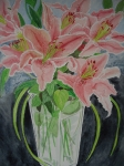Lilies in Clear Vase - Barbara Williams