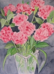 Carnations in Clear Vase