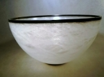 Italian White Alabaster with Ebony foot & rim